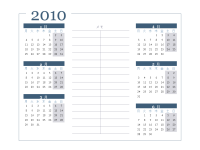 2010 カレンダー (6 か月/ページ、月曜開始)