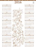 万年カレンダー (月曜~日曜、エレガントなデザイン)