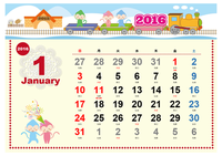 2016 年の季節のイラスト入りカレンダー (旧暦六曜入り、かわいいデザイン、日曜開始)