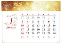 2016 年の季節のイラスト入りカレンダー (旧暦六曜入り、エレガンなトデザイン、日曜開始)
