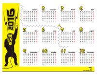 2016 年の年間カレンダー (祝日付き、十二支の申の記号付き、月曜開始)