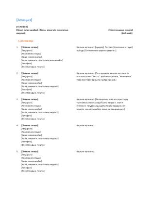 Түйіндемеге арналған анықтама тізімі (Функционалды дизайн)