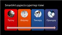 SmartArt слайдының үздіксіз суреттер тізімі (қарадағы түрлі түсті түстер), кең экран