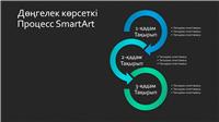 SmartArt слайдының шеңберлі көрсеткі процесі (қарадағы көк-жасыл), кең экран