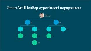 Дөңгелек сурет иерархиясын ұйымдастыратын диаграмма слайды (көгілдір түстегі ақ), кең экран