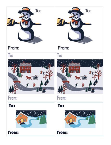 선물 레이블(눈사람 그림, 페이지당 6개)