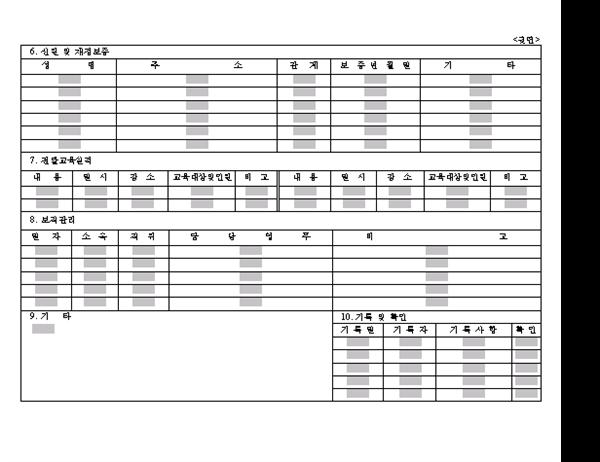 해외훈련이수자관리기록카드(뒷면)