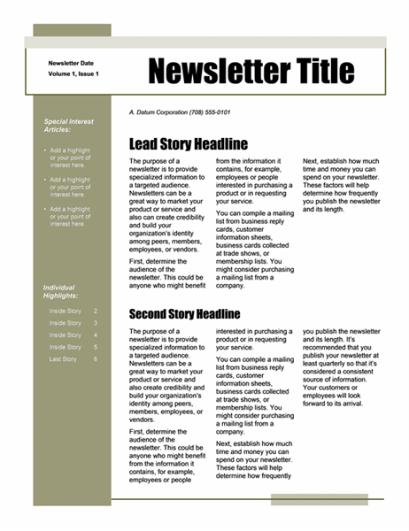 Newsletter (Simple theme, 4-col., 6-pp.)
