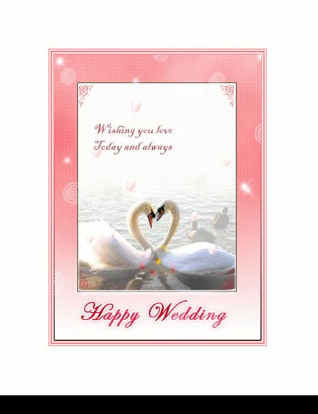 결혼 축하 카드(백조 그림)