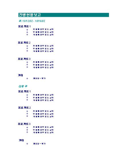 주간 업무 진행 현황 보고서