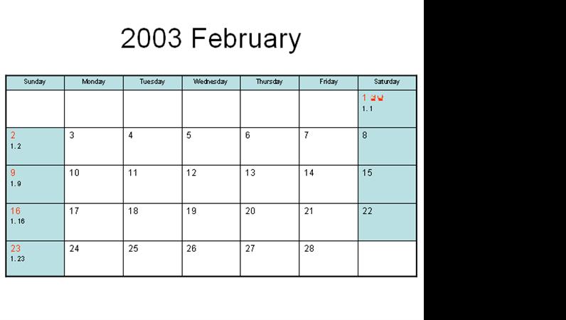 2003년 달력(PowerPoint)