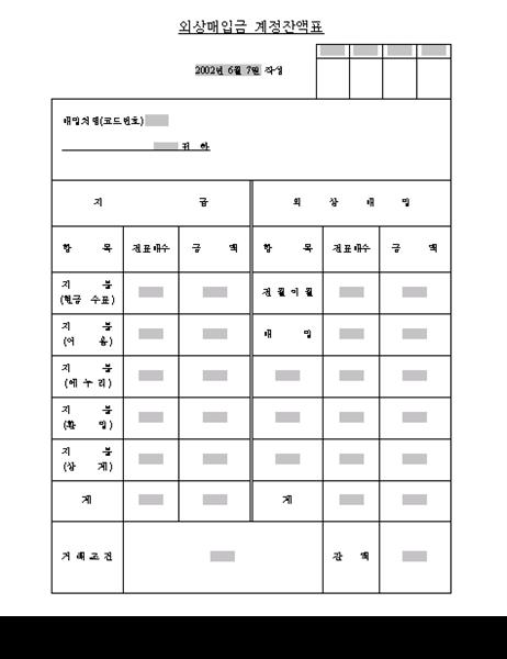 외상매입금계정잔액표