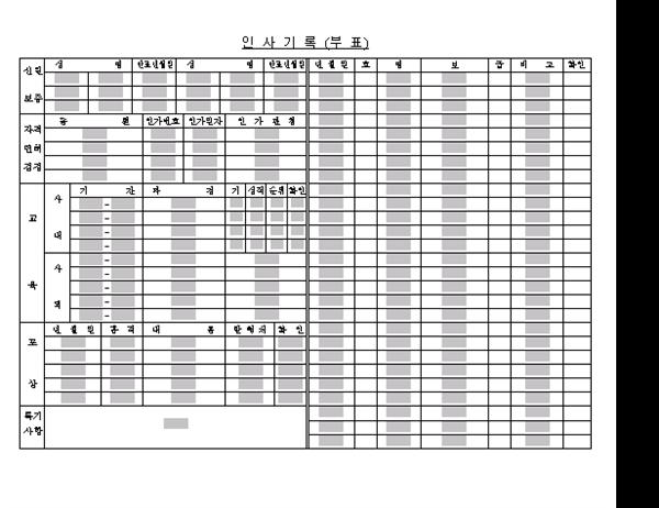 인사기록(부표)
