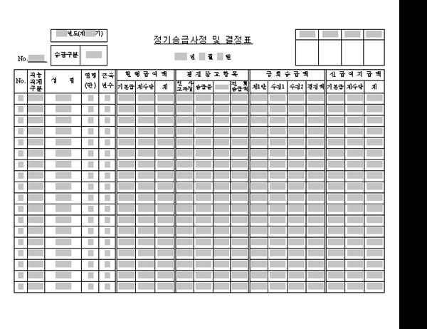 정기승급사정및결정표