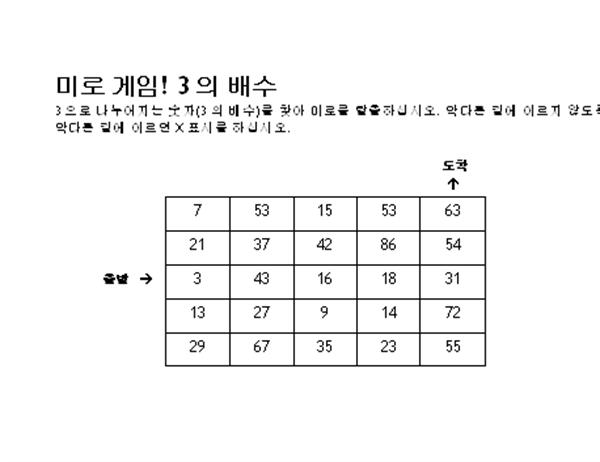 3의 배수 숫자 미로(레벨 1)