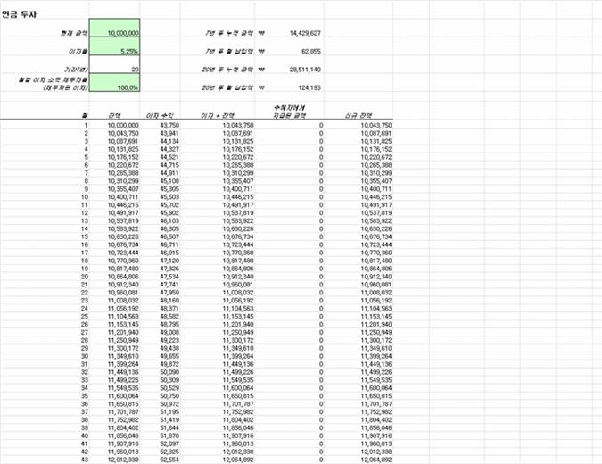 연금 투자 계산 양식