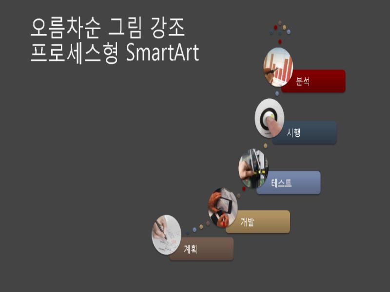 오름차순 그림 강조 프로세스형 SmartArt(회색 바탕에 다색 디자인), 와이드스크린