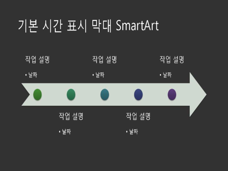 기본 시간 표시 막대 SmartArt(진한 회색 바탕에 흰색), 와이드스크린