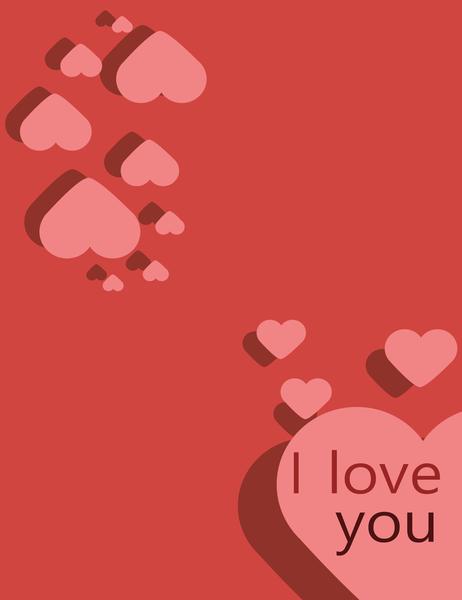 사랑합니다 카드(1/4 크기로 접기 가능)