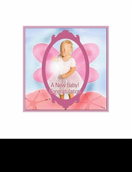 아기 탄생 축하 카드(천사 그림)
