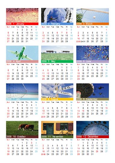Excel 2007: 세로형 사진 달력(1페이지)