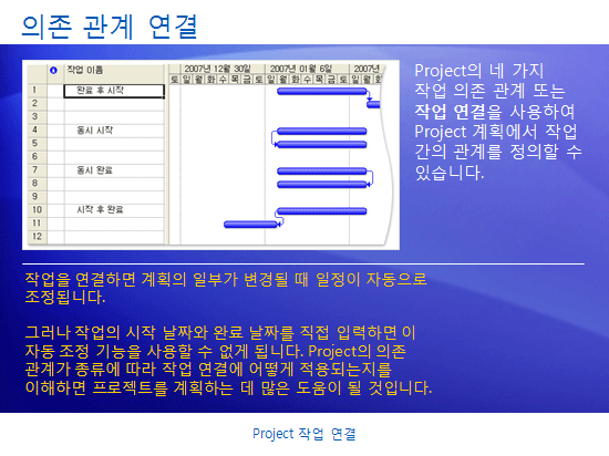 교육용 프레젠테이션: Project 2007 - Project 작업 연결