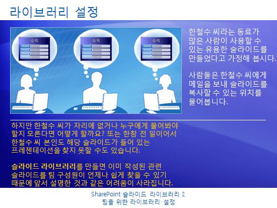 교육용 프레젠테이션: SharePoint Server 2007 - 슬라이드 라이브러리 I: 팀을 위한 라이브러리 설정