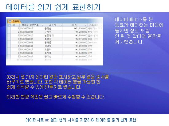 학습 프레젠테이션: Access 2007 - 데이터시트 III: 열과 행의 서식을 지정하여 데이터를 읽기 쉽게 표현