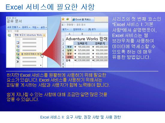 학습 프레젠테이션: SharePoint Server 2007 - Excel 서비스 II: 요구 사항, 권장 사항 및 사용 권한