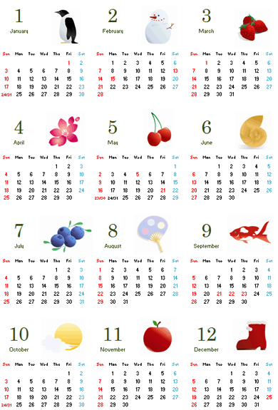 Excel 2010: 세로형 그림 달력 (1페이지)