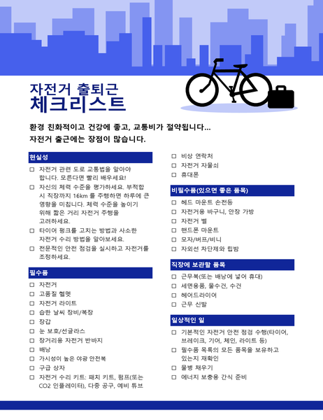 자전거 통근 검사 목록