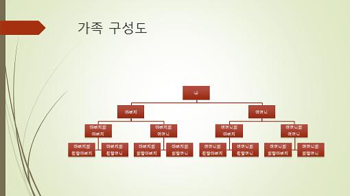 가계도 차트(세로, 녹색/빨강, 와이드스크린)