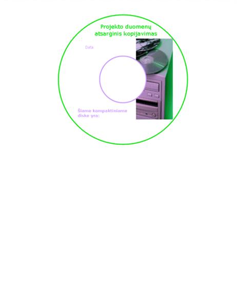 Duomenų atsarginių kopijų kompaktinių diskų priekinės pusės etiketės