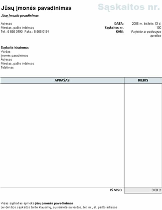 Sąskaita faktūra, apskaičiuojanti visą sumą