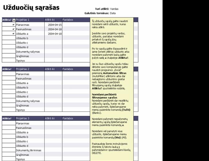 Užduočių sąrašas projektams