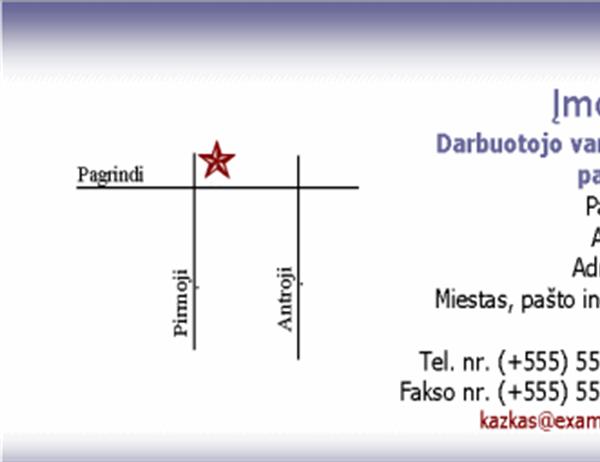 Vizitinė kortelė su žemėlapiu