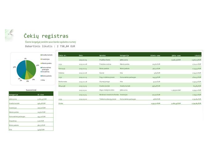 Čekių registras su diagrama