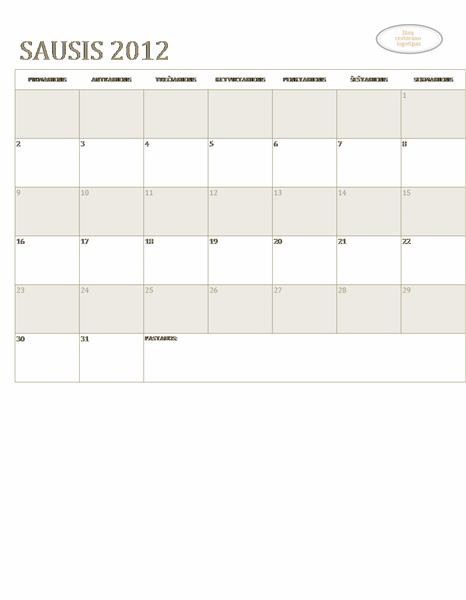 Nedidelis įmonės kalendorius (bet kurių metų, nuo pirmadienio iki sekmadienio)