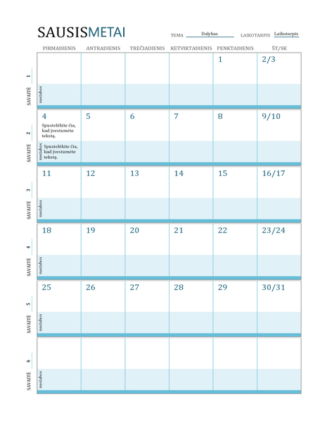Pamokų plano kalendorius