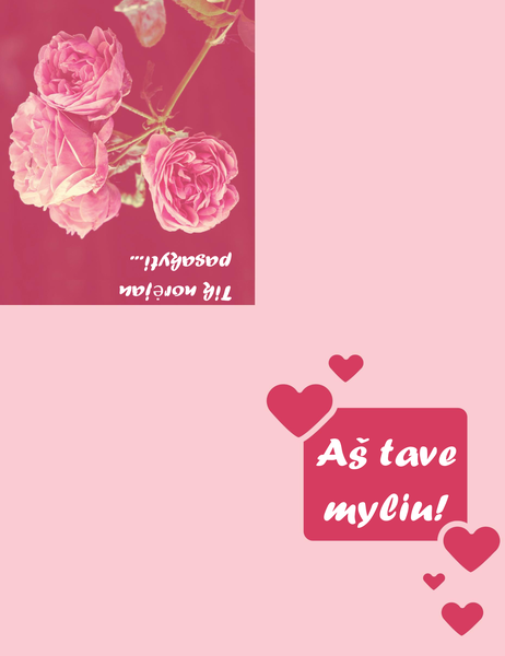 Romantiškas atvirukas (keturgubo sulenkimo)