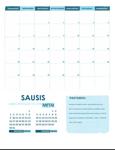 Akademinis kalendorius P–S (bet kurių metų)