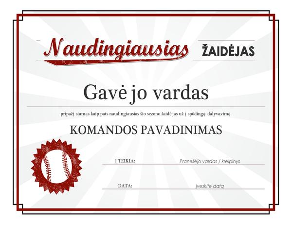 Naudingiausio žadėjo apdovanojimo sertifikatas