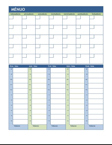Mėnesio ir savaitės planavimo kalendorius