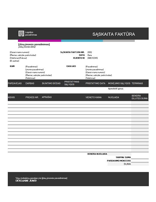 Pardavimo sąskaita faktūra (mėlyno gradiento dizainas)