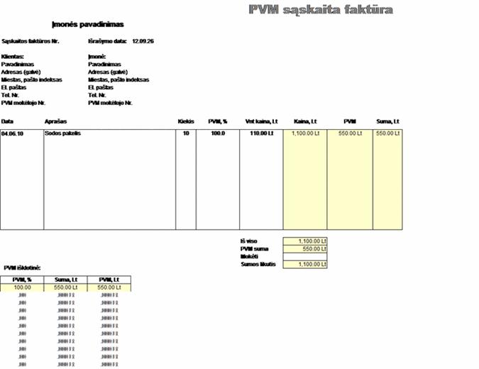 PVM sąskaita faktūra– kaina įskaitant mokesčius