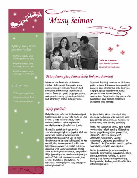 Atostogų informacinis biuletenis (su Kalėdų Senio rogėmis ir elniu)
