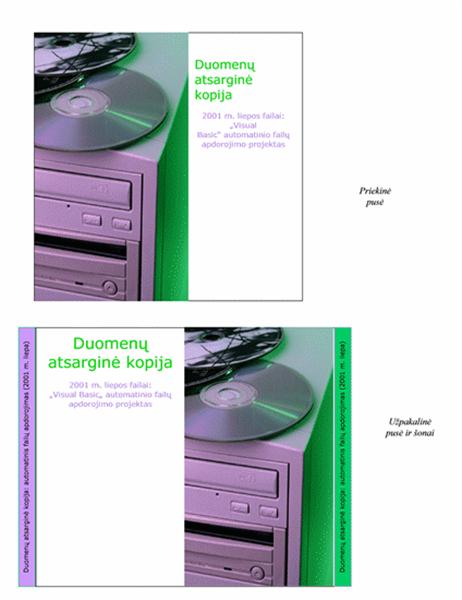 Lapeliai, dedami į atsarginių duomenų kopijų kompaktinių diskų dėžutes