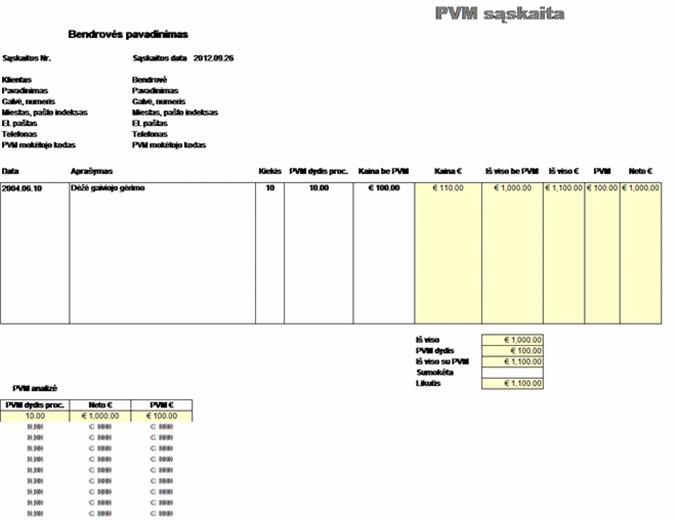 PVM sąskaita– kaina be mokesčio