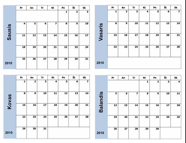 2010 m. kalendorius su mėlynu rėmeliu (3 psl., Pr–S)