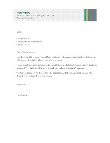 Verslo laiškas (pardavimo juostos motyvas)